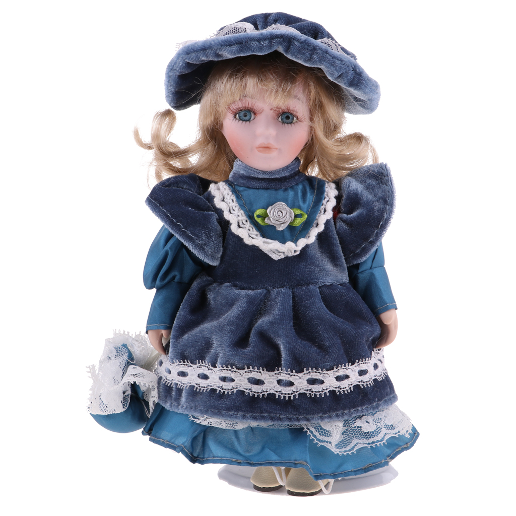 20cm Porcelain Doll Victorian Lady In Blue Dress Gown People Figure Vintage Dollhouse Miniature