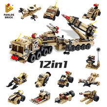 549PCS Patriot Air Defense Missile 12in1 Gunboat Rocket Launcher Hovercraft Submarine Cross-country Car Building Block Fun Toys
