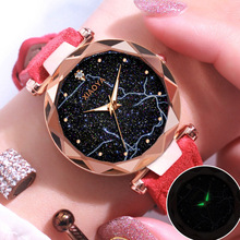 Fashion Women lightning Starry Sky Dial Watches For Ladies Casual Leather Quartz Wristwatch Tephea Luxury Luminous Clock Women women watches 2016 guanqin new quartz watches for ladies waterproof wristwatch with black sky dial and leather watchband