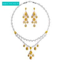 MECHOSEN Elegant Water Drop Women Wedding Jewelry Sets Yellow Zirconia Statement Necklace Dangle Earrings Copper Collier