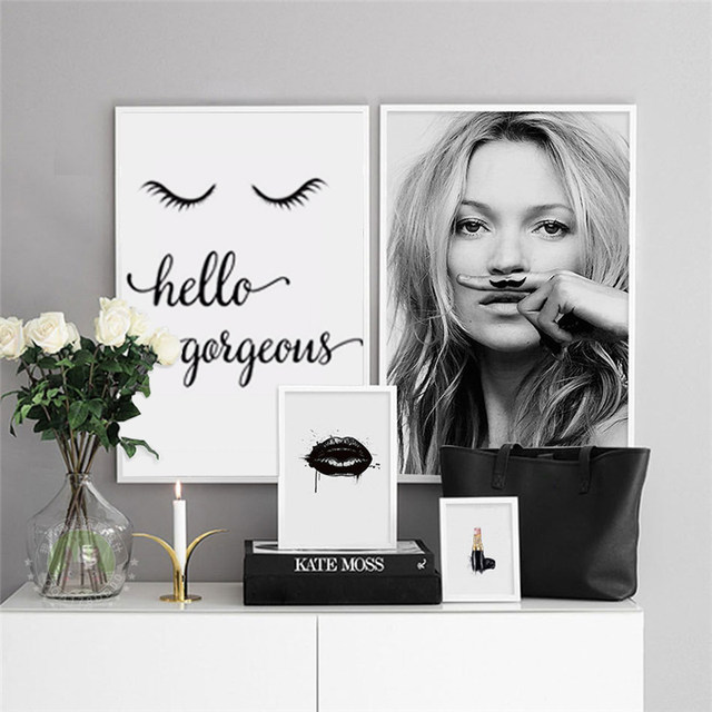 HAOCHU Schwarz Weiß Mode Super Modell Kate Moss Poster Foto Bild Leinwand  Malerei Wandbild Für Wohnzimmer Dekor
