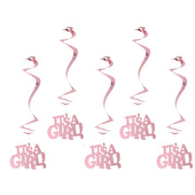 Pink Spiral Its A Girl Hanging Swirl Decoration Paper Crafts Foil Danglers Mobiles Nursery Baby Shower Decorations(5pcs)