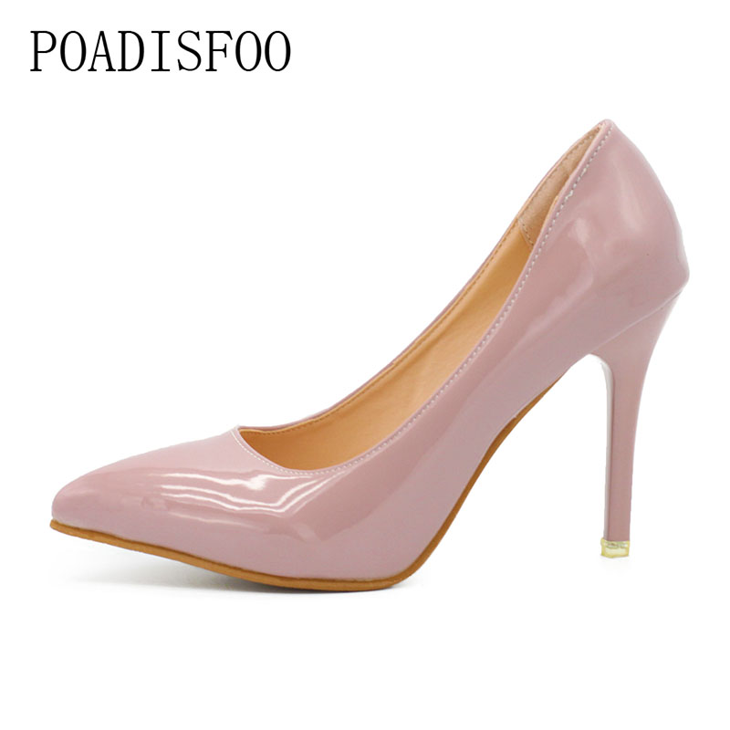 POADISFOO   Pointed High Heels Female Winter Fine With  Single Shoe Patent Leather Shallow Mouth Sexy Nightclub 10cm .DFGD-1318 14cm sexy fine with nightclub shiny diamond high heels spring and autumn shallow mouth princess wedding shoes