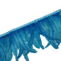 Wholesale 30 35CM Lake Blue Cock tail feather trim Coque feather trimmed ribbon DIY dress skirt decoration accessories