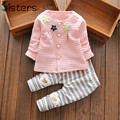 2017 New Baby Clothes Girls Flower Suit Cardigan + Pants 2pcs / set infant jacket  Kids clothes Striped Pants free shipping