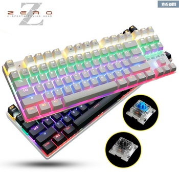 цена на Metoo Gaming Mechanical keyboard 87 key  blue switches Backlit Led Wired  teclado mecanico  keyboard Russian Stickers