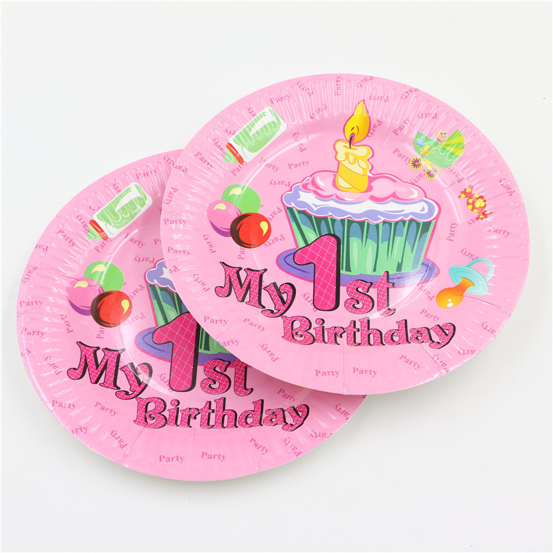 Pink 1st birthday party 7inch paper plate for baby girl 1 year old