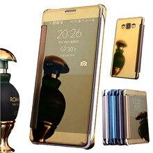A8 люкс флип зеркало pu leather case fundas для samsung galaxy a8 (2015) A8000 Мобильный Телефон Капа Аксессуары Пластика Задняя Крышка