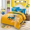 Yiwuxuege 2016 nova versão coreana de pequenas pessoas amarelos threesome ou quarteto padrão escovado dois jogo de cama cor 3 PCS