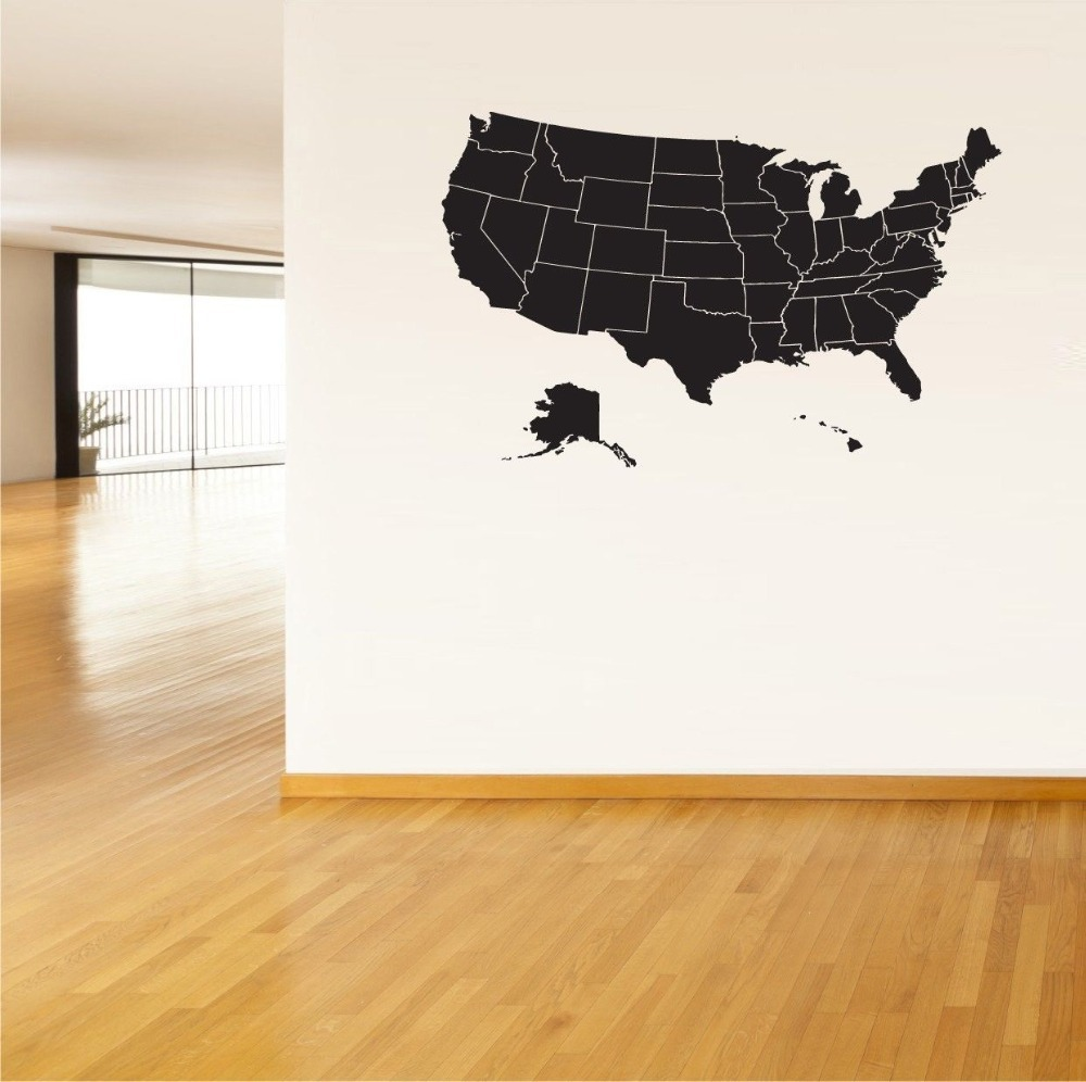 USA Map Wall Sticker United States Of America Map Mural Pvc Wall - Us map wall decal