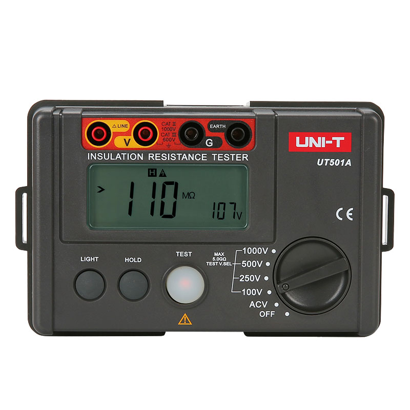 LCD Backlight Display UNI-T UT501A 100V--1000V megger Insulation earth ground resistance meter Tester Megohmmeter Voltmeter 2017 high quality original ut501b digital insulation resistance tester with lcd backlight earth tester megger free shipping