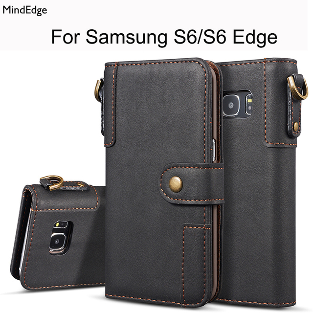 watch 647b8 df3da Genuine Real Leather Flip Wallet Cover for Samsung Galaxy S6 S6 Edge Case  Luxury Ultra Thin Card Slot Strap for Samsung S6 Edge-in Flip Cases from ...