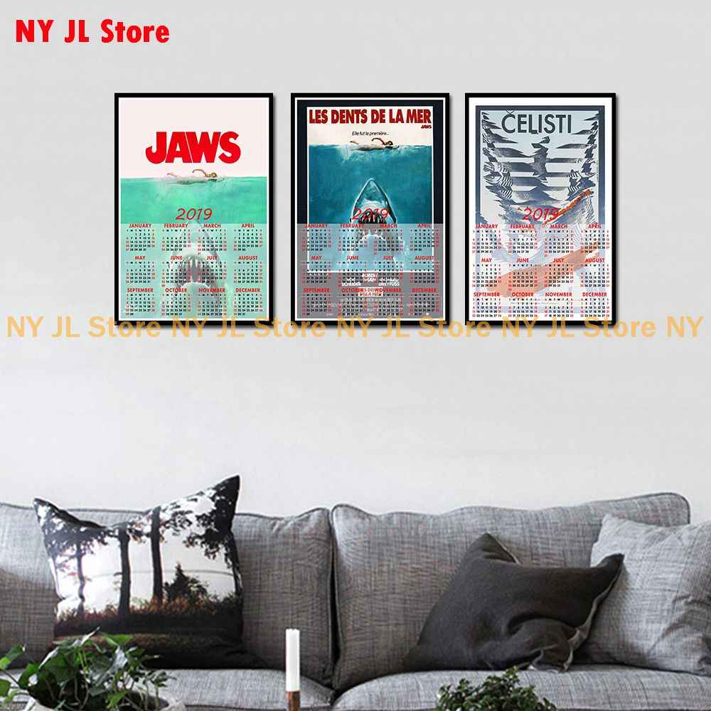 Outstanding Jaws 2019 Calendar Home Furnishing Decorative White Coated Paper Poster Wall Sticker Home Decora Gmtry Best Dining Table And Chair Ideas Images Gmtryco