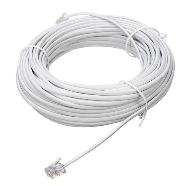 20 Mt 6P2C RJ11 Kupfertelefonkabel Stecker Adapter Kabel Draht ...