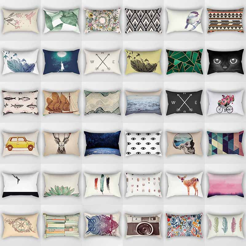 Hot Sale Many Styles Mixture  Pattern Rectangle Pretty Pattern Men Women Rectangle  Pillow Case Home Pillow Cover 50*30cm