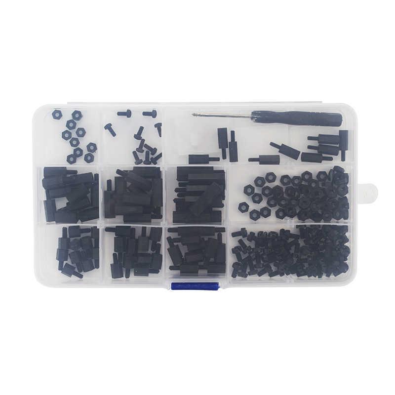 210 قطعة التوت بي M3 M2.5 البلاستيك مسامير المكسرات النايلون الأسود مسامير DIY بها بنفسك سيارة روبوت RC FPV التوت بي 4B/3B +/3B