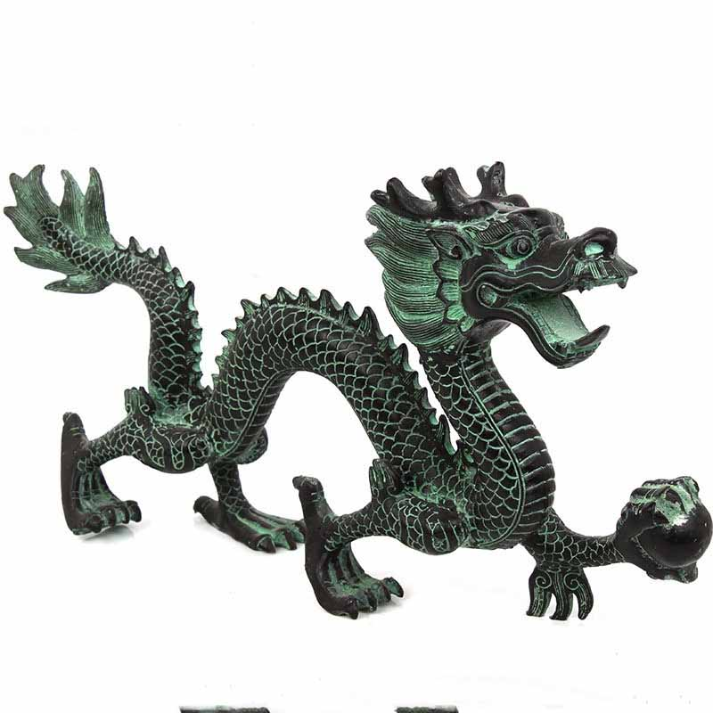 Feng Shui bronze dragon catching beads ornaments lucky home crafts decorative art