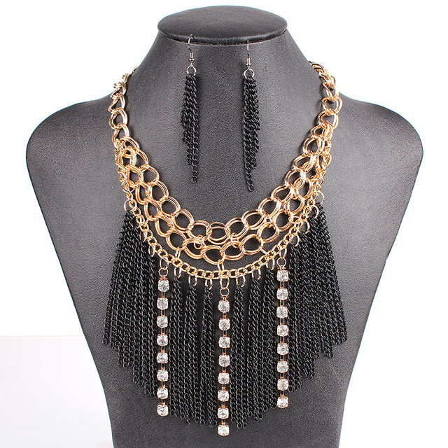 PN12524 Fanshion Tassel Jewelry Sets Black Tassel Gold Plated Clear Crystal Top Fashion New Arrival Party Gift Free Shipping
