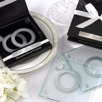 Favor de la boda, souvenirs para la boda -- Con este anillo posavasos de cristal apilable únicos