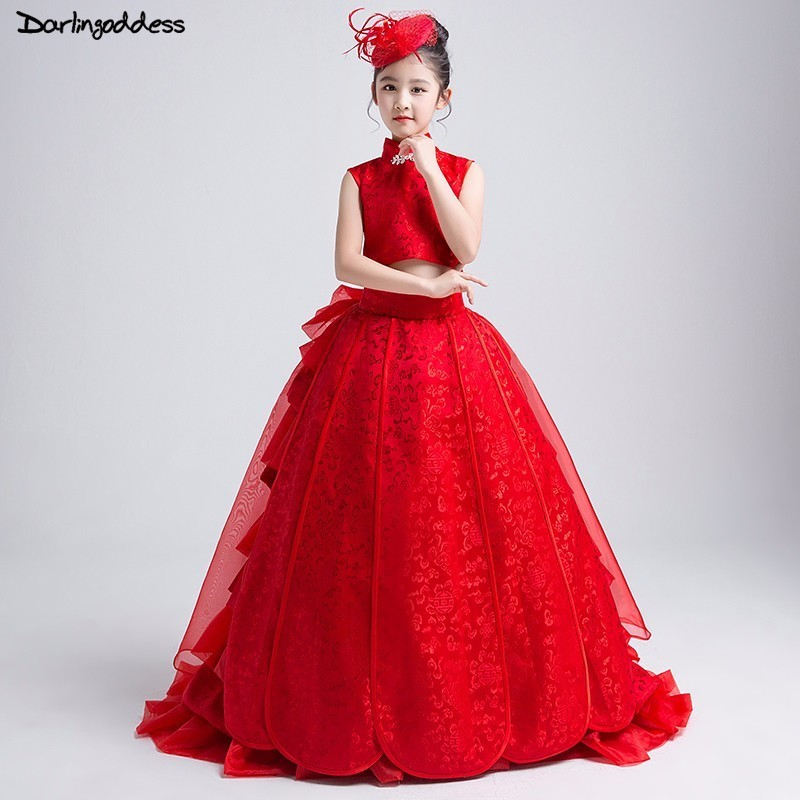 Luxury Pageant   Dresses   For   Girls   Kids Ball Gown Red   Flower     Girl     Dresses   2018 Beautiful First Communion   Dresses   For Little   Girls