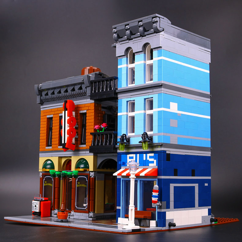 Lepin 15011 City Street Detective's Office Model LegoINGys 10246 Building Blocks Bricks Kits Architecture Toys For DIY Gift hot sembo block compatible lepin architecture city building blocks led light bricks apple flagship store toys for children gift