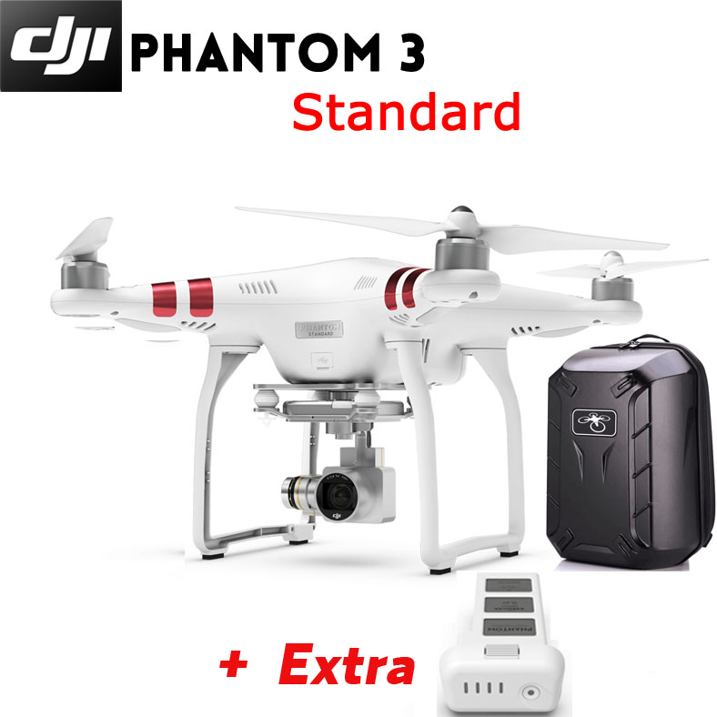 DJI Phantom 3 Standard FPV 12MP Camera Shoots 2.7K Video RC + Extra Battery + Hardshell Backpack
