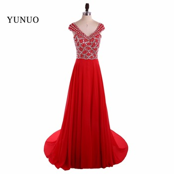 Real Sample Chiffon Red A Line V Neck Long Evening Dresses 2019 Beading Sequined Cap Sleeves Floor Length Evening Dress YN80205