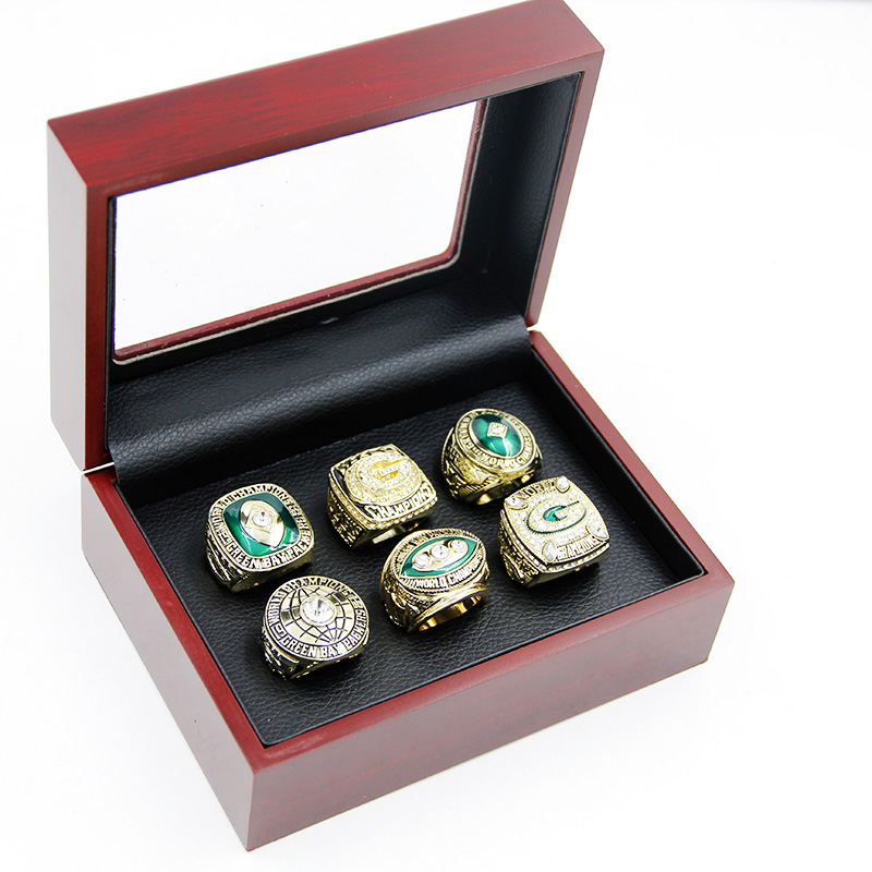 6pcs Zinc Alloy1962/1965/1966/1967/1996/2010 green bay packers Championship Rings For Man With Box кепка printio green bay packers