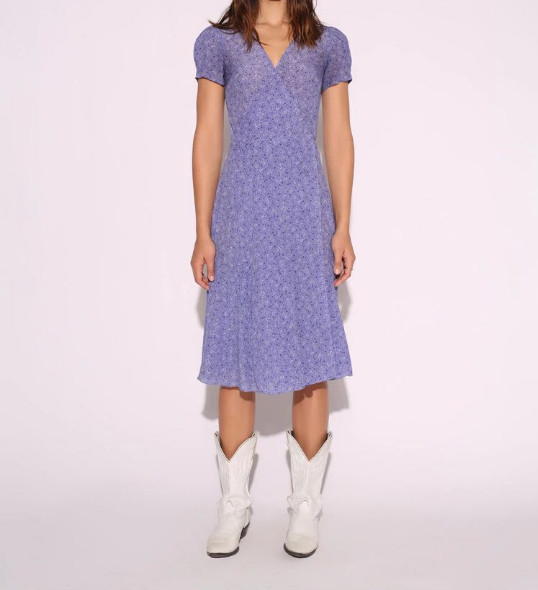 Femmes robe imprimé Floral fendu Vintage cravate taille manches courtes Midi violet robes