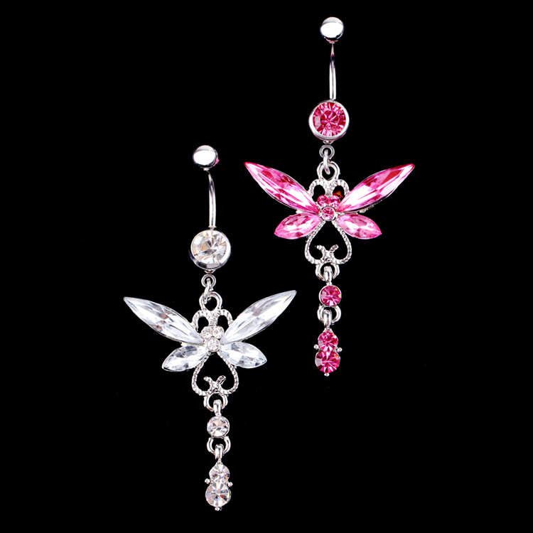 Fashion Rhinestone Butterfly Belly Button Ring Body Piercing Jewelry