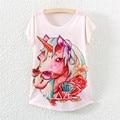 2016 Nueva Moda Linda Del Otoño Del Verano Mujeres de la Camiseta Remata camisetas Letter Print Camiseta Harajuku Unicornio Impreso Flor Elefante tops