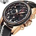 LIGE часы для мужчин модные спортивные кварцевые часы кожа для мужчин s часы лучший бренд класса люкс золотые водонепроницаемые Бизнес часы ...