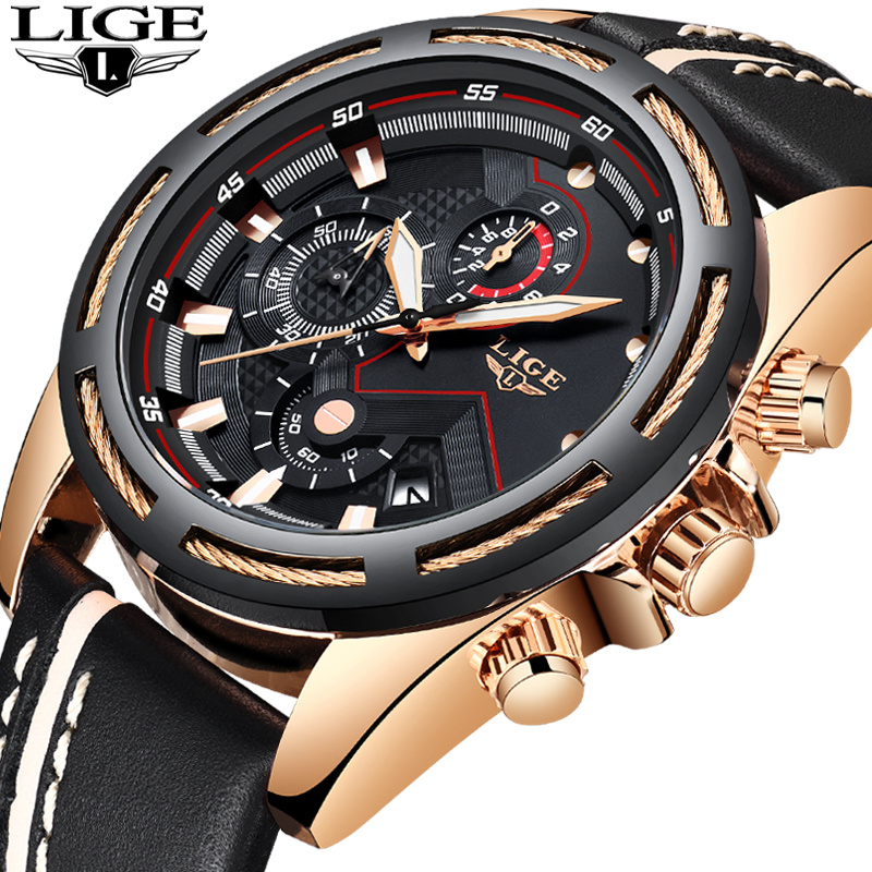 LIGE Homens Relógio Do Esporte Da Forma de Quartzo Relógio Mens Relógios Top Marca de Luxo De Ouro de Couro À Prova D' Água Relógio de Negócios Relogio masculino