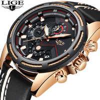 Reloj LIGE para hombre, reloj de cuarzo deportivo de moda, Relojes de Cuero para hombre, reloj de negocios a prueba de agua de oro de marca superior