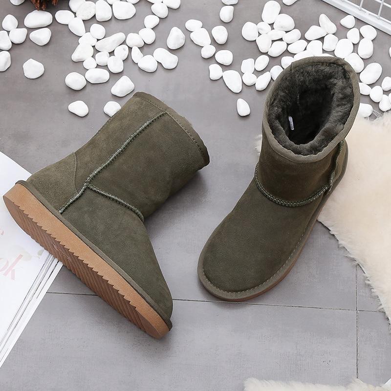 100% reale della pelle bovina della pelle scamosciata delle donne di inverno stivali da neve per le donne di pecora foderato di pelliccia di inverno scarpe di alta qualità 11 colori formato 35-44