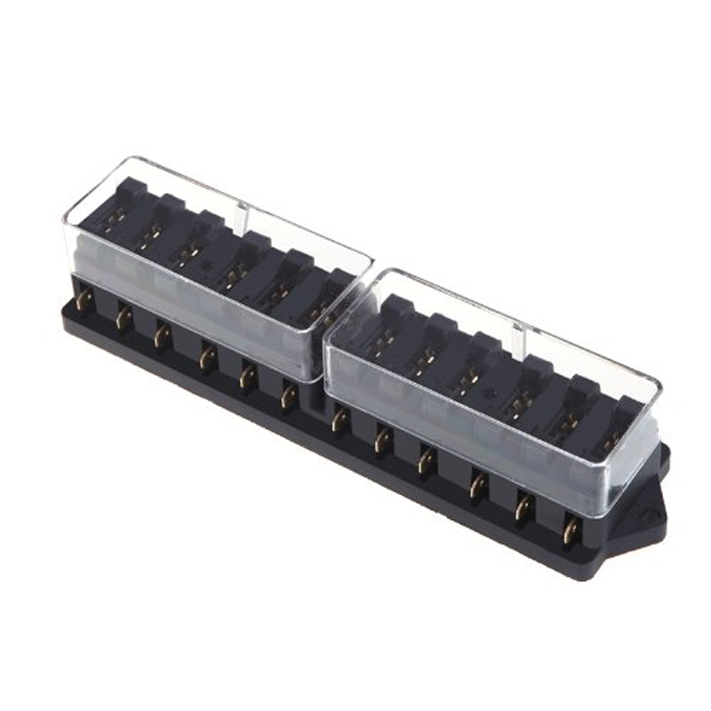 TOYL Universal Car Truck Vehicle 12 Way Circuit Automotive Middle-sized Blade Fuse Box Block Holder Black