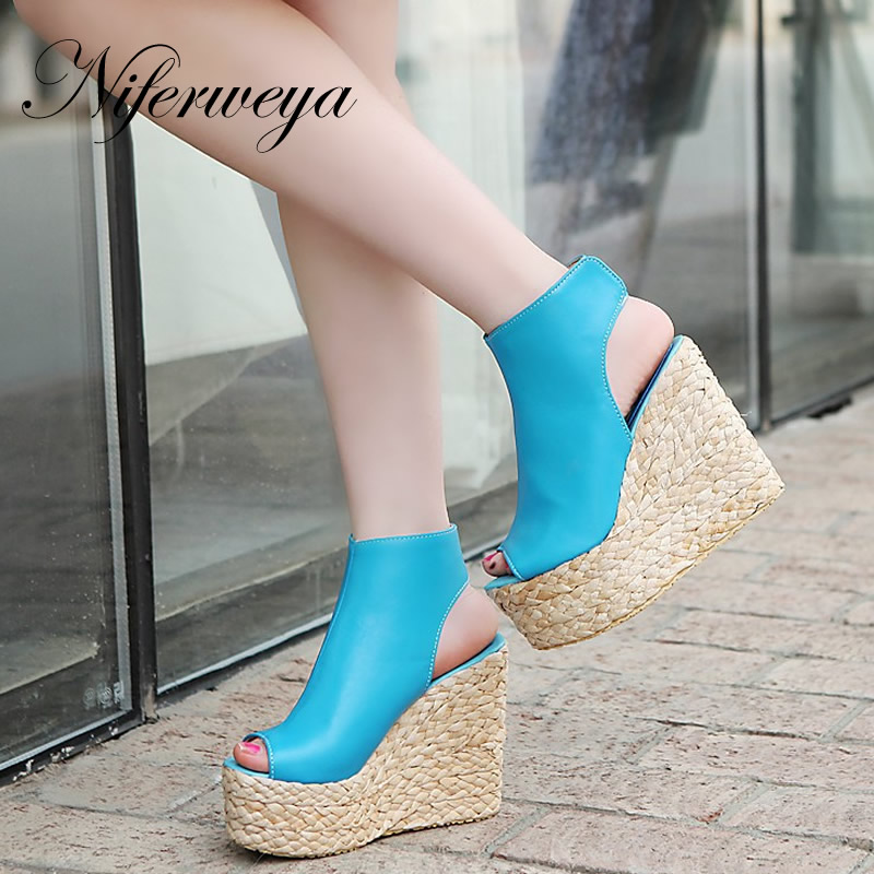 New 2016 fashion summer women boots big size 34-43 PU leather Solid Wedges High heel shoes Peep Toe Platform sandals MLE--2 baoyafang new arrival peep toe pearl women wedding shoes high heel fashion shoes woman platform shoes 12cm female big size shoes