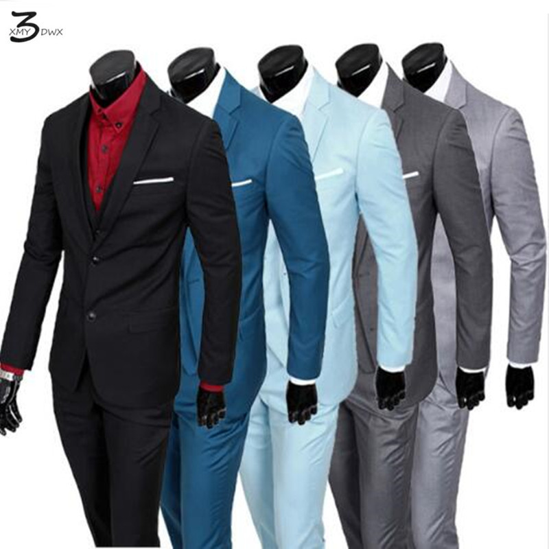 (Jacket+Pants+Vest)2016 Males Fits Model Enterprise Blazers Jacket Formal Costume Males Swimsuit Set Male Wedding ceremony Groom Tuxedos Three-Piece