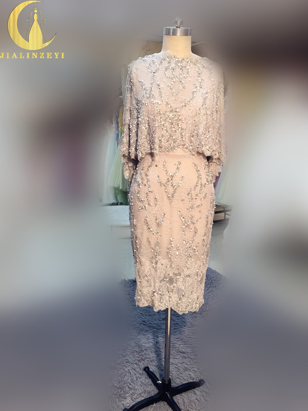 Rhine Real Sample Image Sliver Grey Lace Full Hand Work Beads Knee Length Mother Of The Bride Evening Dresses Prom Party Dresses