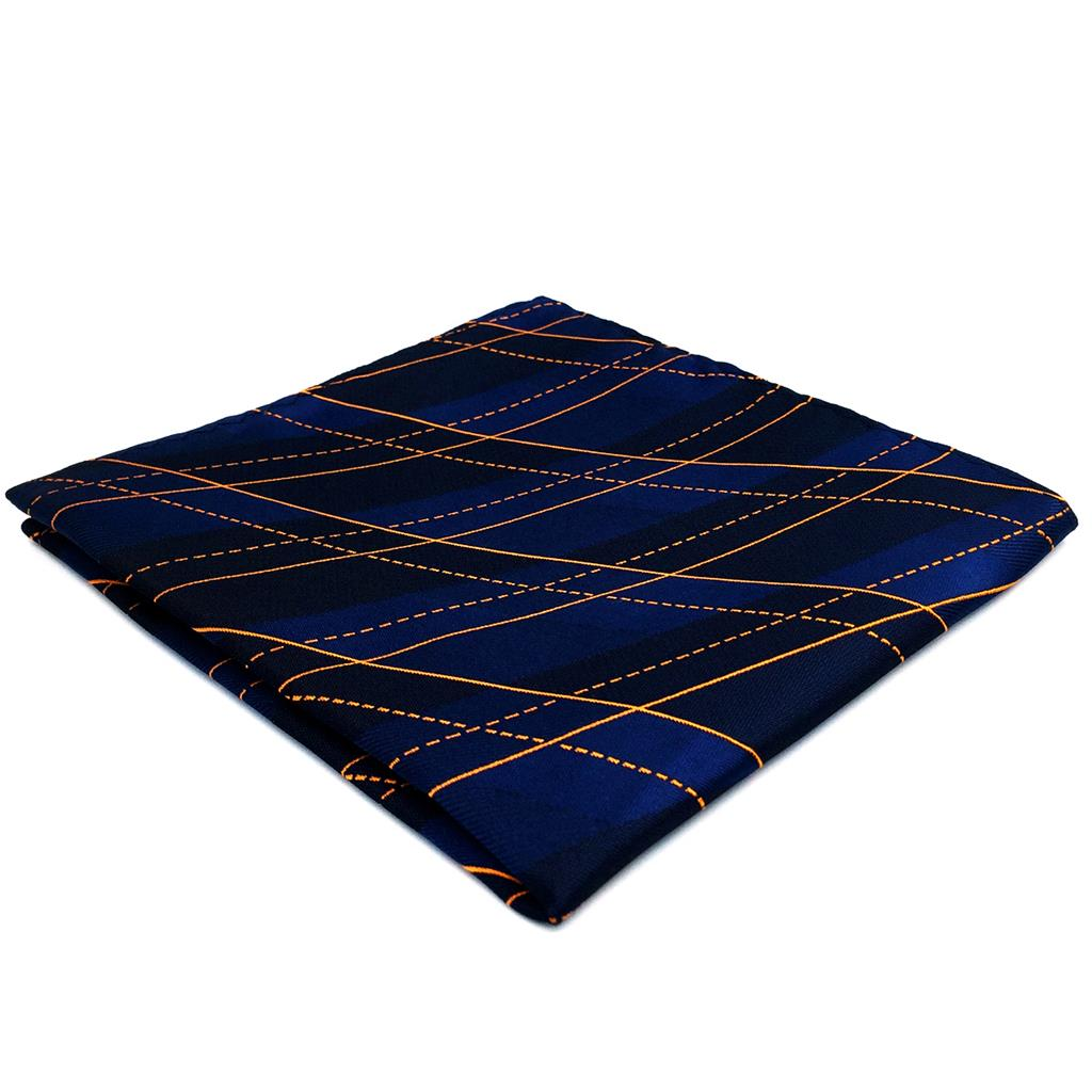 FH09 Blue Geometric Mens Pocket Square Dress Classic Handkerchief Party Gift