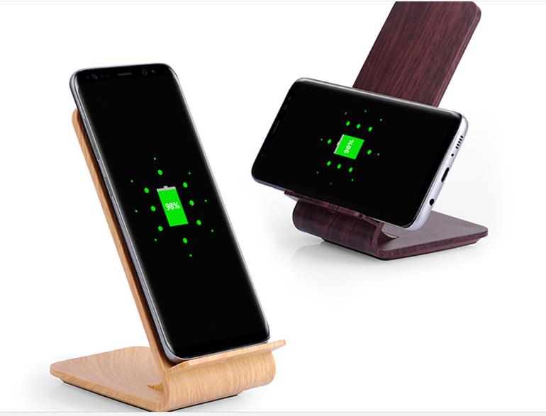 Factory Supply Wood Color Wireless Charging QI Fast Charging Vertical 10W Desktop Wireless Charging