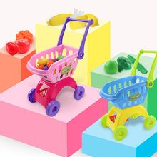 Shopping Mini Cart Toy Kids Vegetable Fruit Trolley Realistic Supermarket Cart Pretend Play Toy Storage 25 Pieces Set(China)