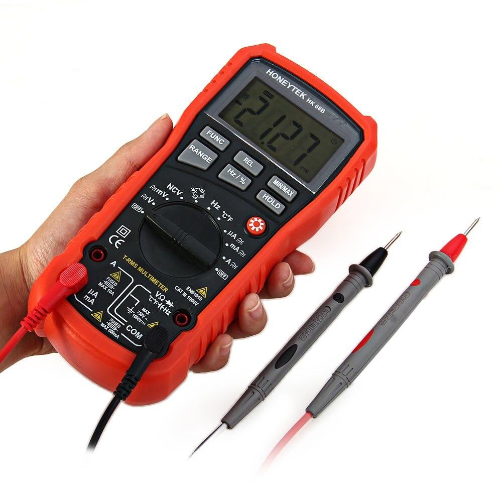 New HONEYTEK HK68B Handheld Digital Multimeter AC / DC Current Voltage Resistance Capacitance Frequency Temperature Multitester m051 new hantek 365e bluetooth voltage current resistance capacitance digital multimeter
