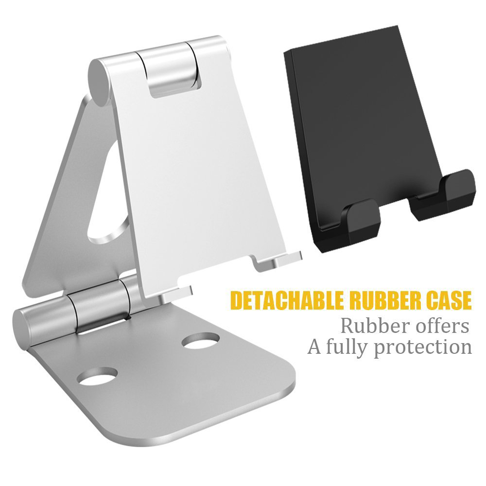 Nulaxy Aluminium Alloy Phone Holder Dual Hinge Adjule Mobile Stand Foldable Desk Stands For Ipad Tablet Mount Free Shipping Worldwide