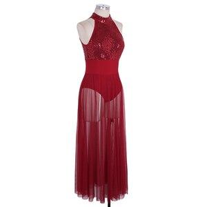 Image 3 - YiZYiF cekinowa siatka Maxi sukienka baletowa kobiety kostiumy do tańca dla dorosłych bez rękawów Halter taniec baletowy sukienka z wbudowanym trykotem