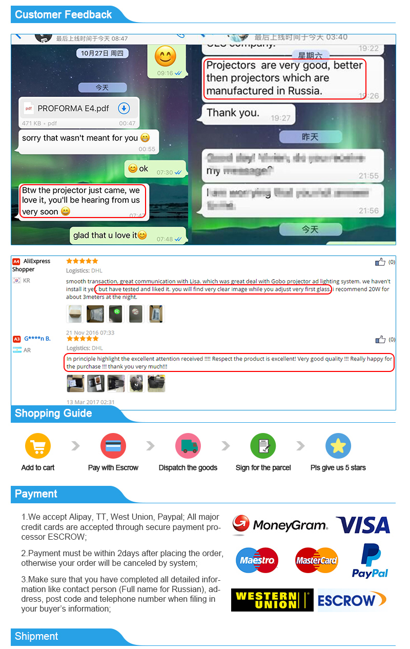 customer feedback and payment