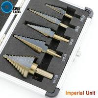 HSS Step Drill Bit Cobalt Alloy Titanium Coat Bits Triangular Round Shank Metal Multiple Inch Drilling