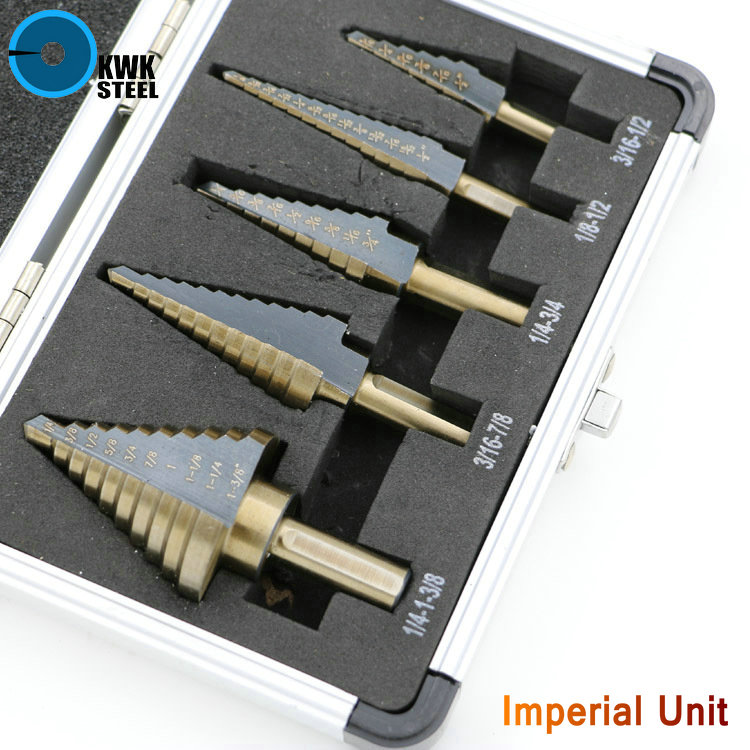 HSS Step Drill Bit Cobalt Alloy Titanium Coat Bits Triangular Round Shank Metal Multiple Inch Drilling Set Hole Cutter 5in1 Case