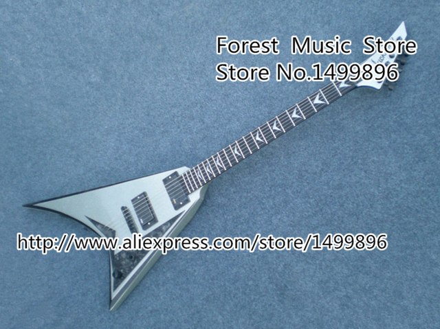 Cheap Wholesale & Retail Chinese Musical Instrument 22 Frets Metallic Silver Jacksn Flying V Guitars Electric Custom Available