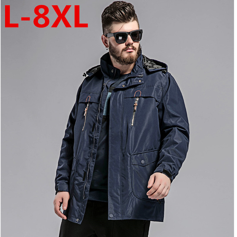 big size 8XL Winter Jacket Men thick Windproof Hood parka mens jackets and coats Windbre ...